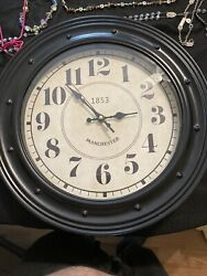 Wall Clock 15 inch Metal Silent Non Ticking Retro Clock Black Vintage Style