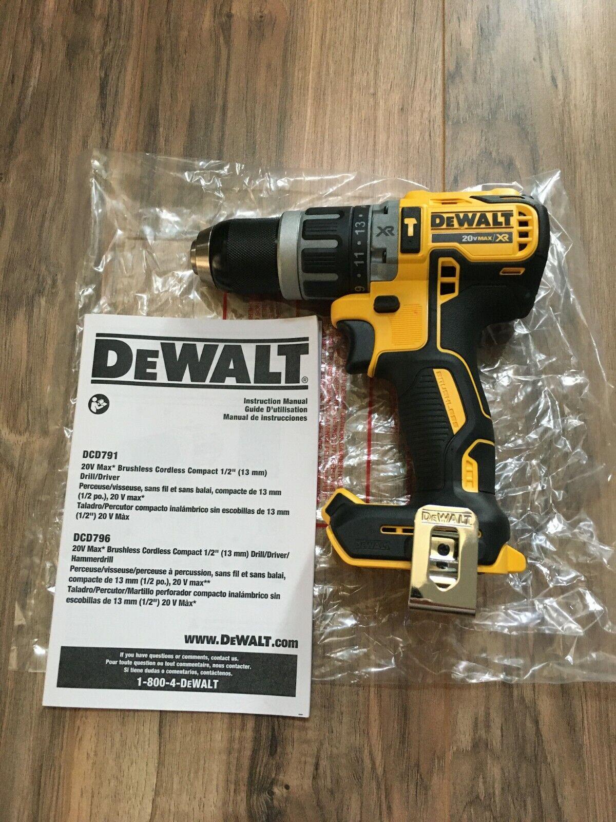New Dewalt 20 Volt MAX XR Brushless Compact Hammer Drill DCD