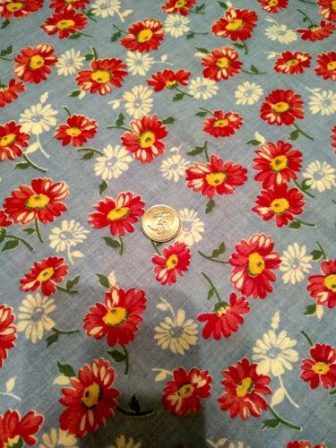 Whole Vintage Feedsack floral red , blue flowers