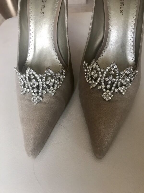 GORGEOUS Vintage MUSI Crystal Shoe Clips Ornate Silver Crown Marie Antoinette