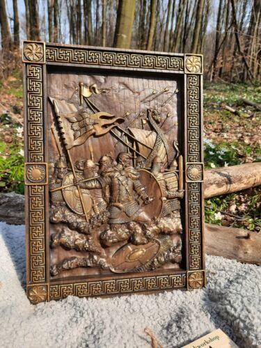 Vikings Wood carving  Skandinavian style Wall Hanging Art work Gift for man