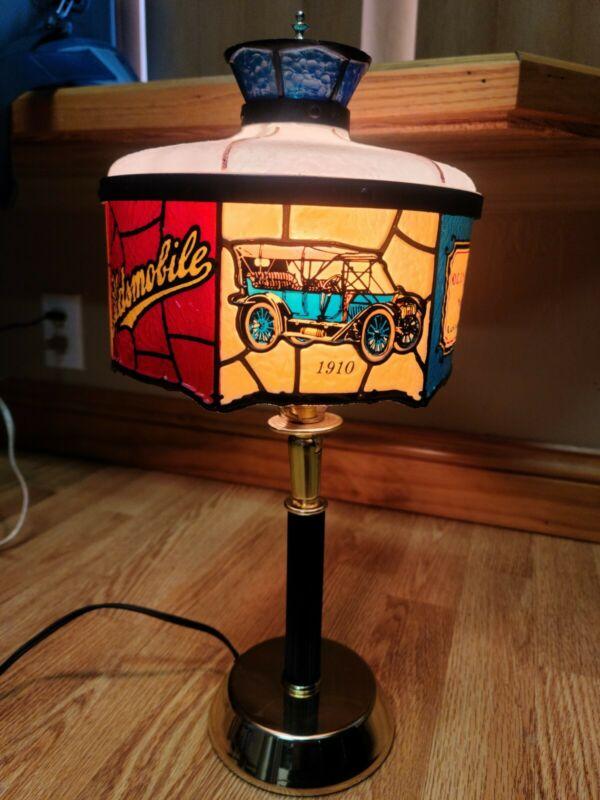 Rare Vintage Oldsmobile Dealer Desk Lamp Tiffany Style Plastic Light 1970's