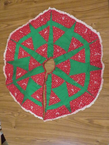 """Handmade Patchwork Quilted Christmas Tree Skirt 40"""" Red Green White A9006"""