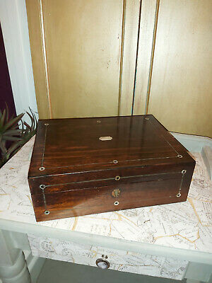 A 19th CENTURY ROSEWOOD AND MOTHER-OF-PEARL LAP DESK