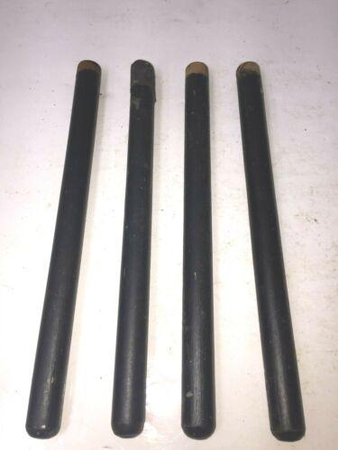 """4 Vintage Wooden Stool Legs Painted Black Style 9"""" Dowels Furniture Handles"""