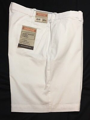 Mens White Shorts 40 Flex Twill Straight Fit Stretch Comfort Waist Flat Front - Comfort Fit Flat Front Shorts