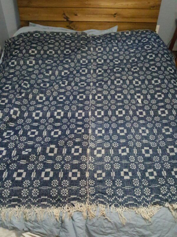 Early Antique Indigo Blue/White Jacquard Coverlet Blanket 2 panel Dble Weave