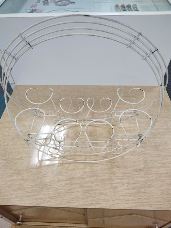 Mid Century Modern MCM Metal Wire 8 Glass Caddy Carrier