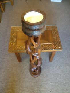 Carved South African coffee table and bowl