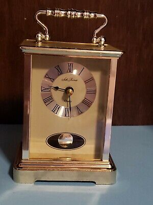 Vintage Seth Thomas Brass pendulum Desk Mantle Quartz Clock Japan looks work grt