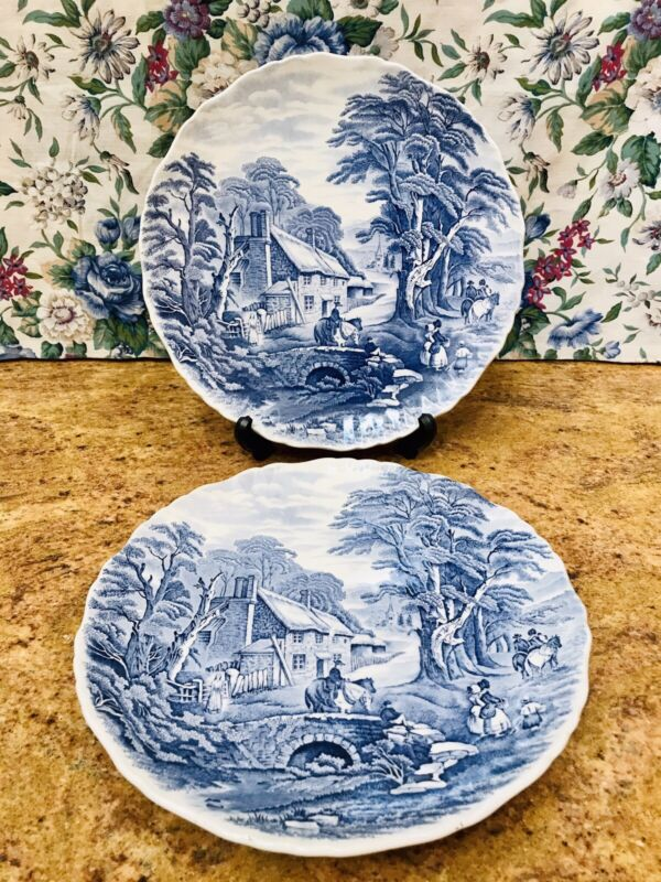 "2VTG James Kent Old Foley Staffordshire Blue & White 10.5"" Plates Country Living"