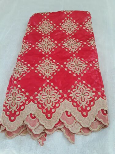 Yellow,Red And Gold 5 Yards Brocade Fabric 2 Yards African Style Lace Scarf.  - $150.00