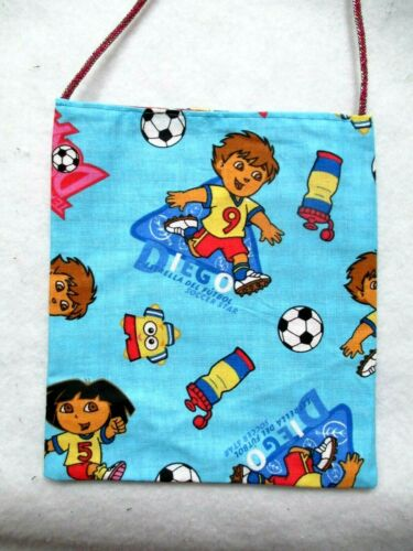 Dora Explorer & friend playing soccer hand-crafted/sewn small purse/bag $4.50