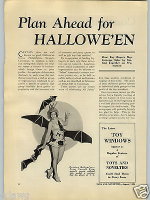 Halloween Costumes Articles (1929 PAPER AD Article Halloween Costume Nacy Carroll Paramount Movie Star)