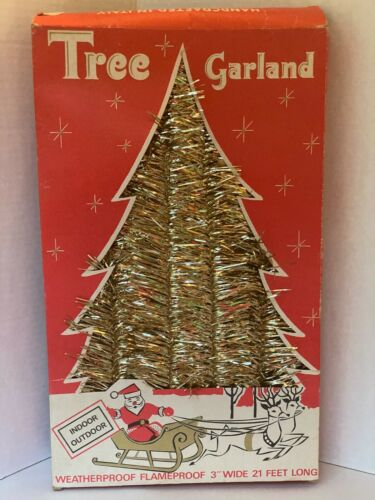 Christmas Tree Garland Gold Tinsel 31 Ft Vintage Indoor Outdoor New Old Stock