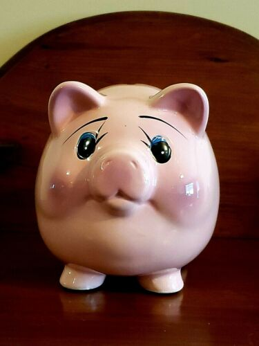 MID CENTURY VINTAGE LARGE   POTTERY FAT BELLY PINK CERAMIC PIG PIGGY BANK