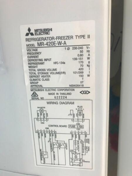 Pleasing Mitsubishi Fridge Freezer Mr 420 W A Fridges Freezers Wiring Digital Resources Zidurslowmaporg