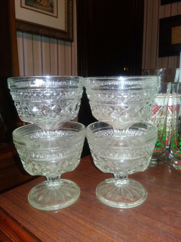 Lot/4 Anchor Hocking Glass WEXFORD Dessert Sherbet Footed Dishes FREE SHIPPING