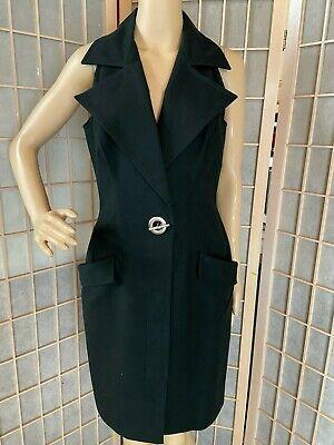 vintage Emanuel Ungaro LBD black collared sheath dress 44 10 nickel toggle