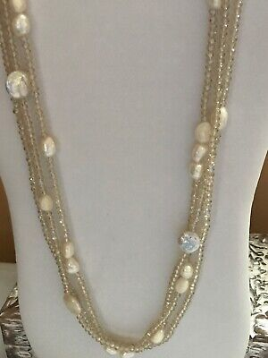 Champagne Faceted Crystals Freshwater Pearl 3row Necklace 40""