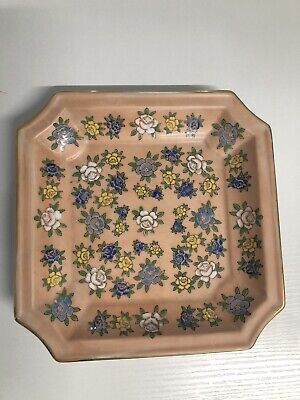 """Andrea by Sadek Peach Floral Porcelain 8"""" Square Plate Tray Jewelry Dish"""