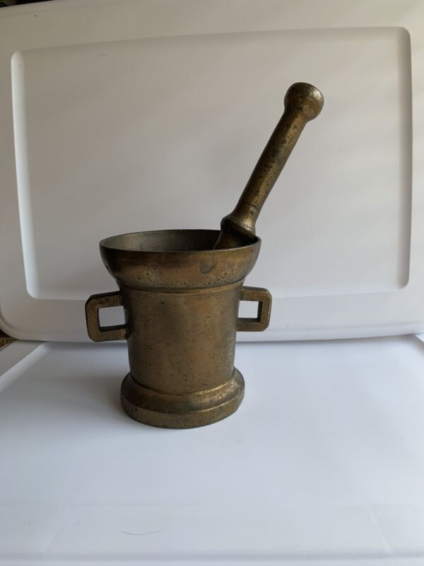 Antique Vintage Large Solid Brass Mortar & Pestle Heavy Apothecary Grinder Gold