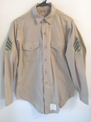 VIETNAM WAR 1975 US MARINE CORPS LONG SLEEVE SHIRT MC SHADE 2115 - SGT. RANK