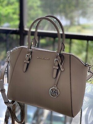 Michael Kors Ciara Large Crossbody Satchel Leather Handbag Bag Grey - Leather Large Satchel Bag