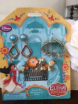 Disney Store Elena Of Avalor Costume Jewelry Set Blue Gold Disney Gold Jewelry Set