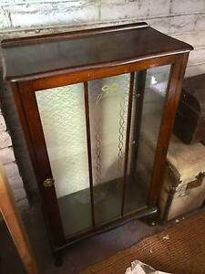 Antique Glass Display Cabinet Wooden Storage English Style Home Dingley Village Kingston Area Preview