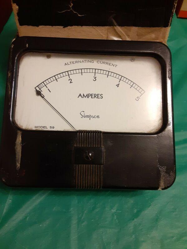 Simpson Model 59 Alternating Current Amperes  AMP Gauge 0-5 Stock #C256