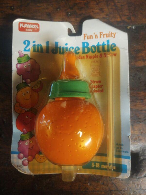 Playskool Fun N Fruity 2 in 1 Juice Bottle ORANGE  vintage 1992 NIP NEW