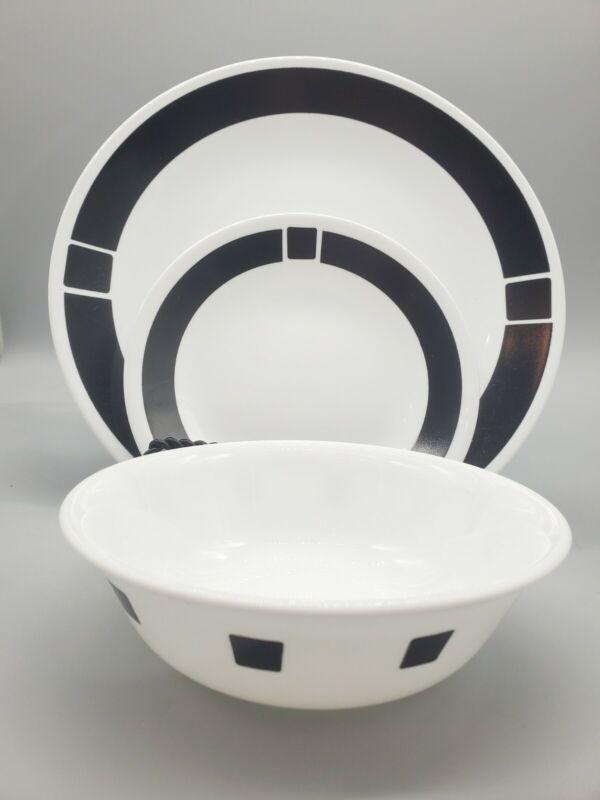 SET OF 12: Corelle Urban Black 4 EA dinner plates,   bread/dessert plates, bowls
