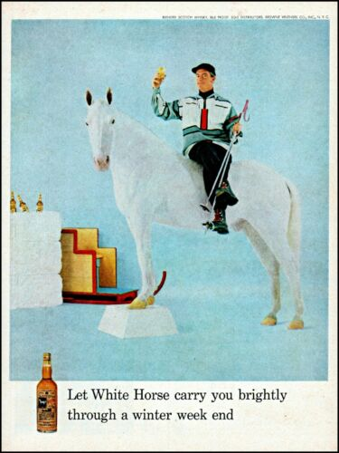 1959 snow skier on horse White Horse scotch winter vintage photo Print Ad adl72