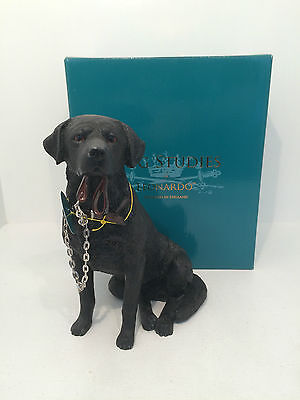 Dog Studies Large Black Labrador Retriever Walkies Figurine Ornament