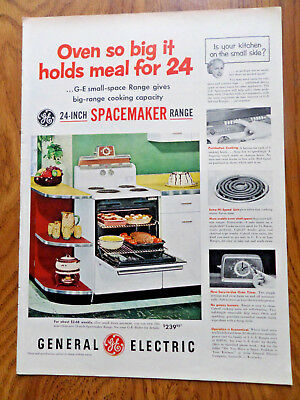 1953 GE General Electric Electric Range Ad 24 Inch Spacemaker Range