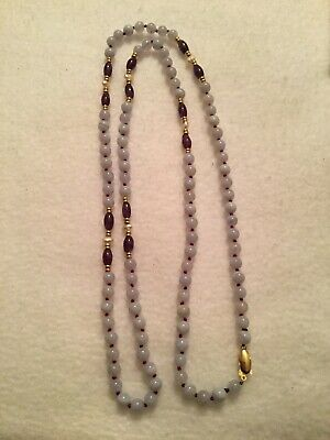 """14k Yellow Gold Purple Amethyst And White Stone Bead Necklace 32"""" -"""
