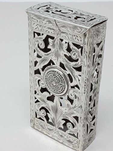Antique .925 Sterling Silver Mayan Aztec Cigarette Case Jalisco Mexico 72g  Vtg