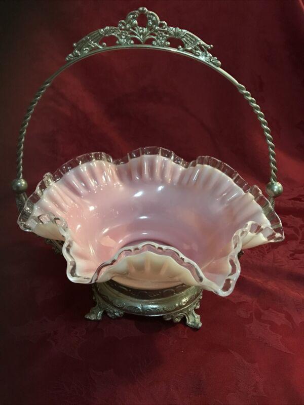 ANTIQUE VICTORIAN BRIDES BASKET PINK CASED GLASS METAL HOLDER
