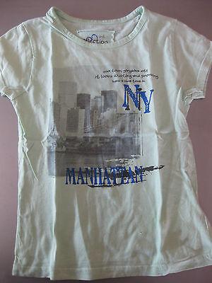 Shirt T-Shirt Gr. 128 Lindgrün Kurzarm Motiv Manhattan alive wunderschön
