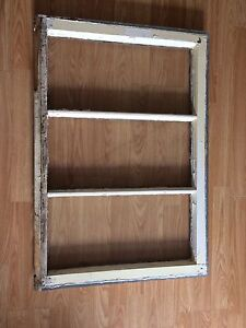 Antique window frame with glass