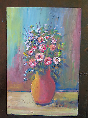 Painting Antique Floral Bouquet Flowers Painting Style Impressionist 1960 V
