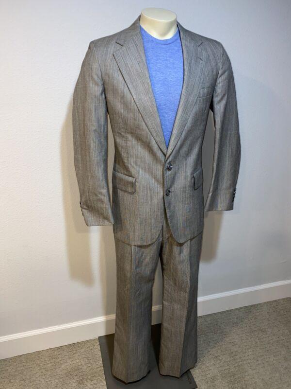 Vtg 80s 90s Gray Miami Vice 2 PIECE SUIT Mens 42 Jacket Coat 34 29 pants HAMER