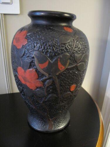 Vintage JAPANESE VASE TOKANABE Pottery Hand Painted Arts & Crafts Style w Birds