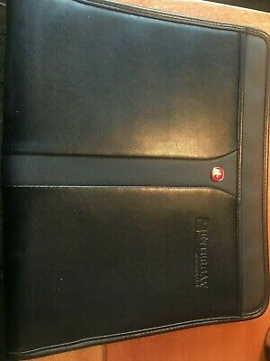 Swiss Army Zippered Note Pad Black Faux Leather Embossed Interbay Funding