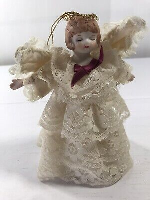 Angel Mini Tree Topper Ornament Lace Ruffle Collectible Christmas Decoration