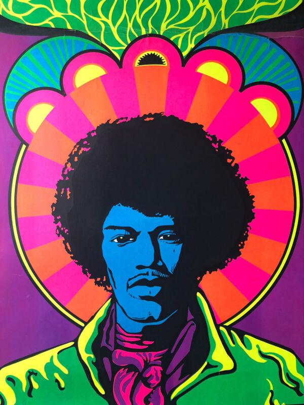 Jimi Hendrix Blacklight Poster Vintage 1960s Psychedelic Music Original Art 60s