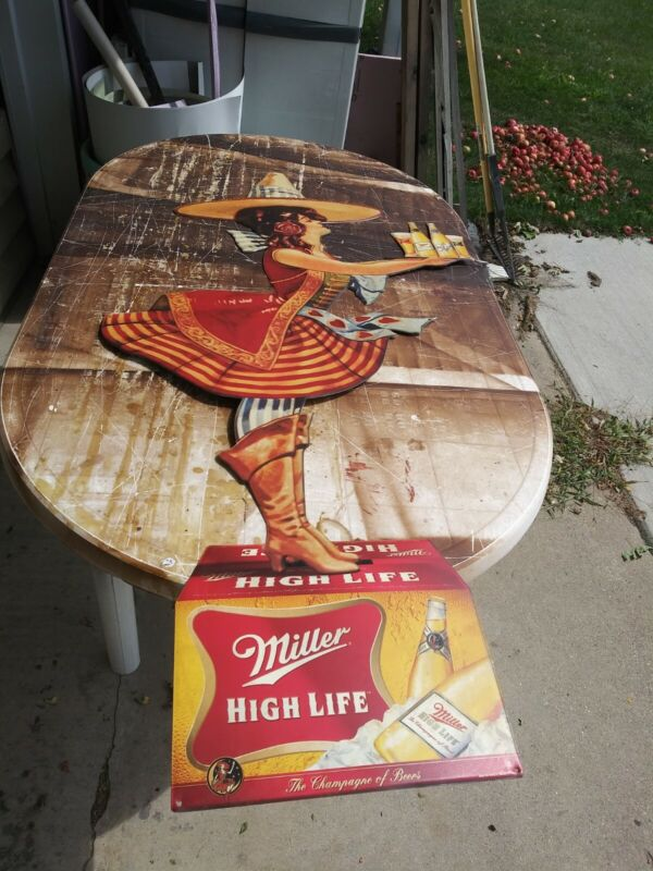 Miller High Life Beer Sign Large Tin Of Girl On The Moon With Old Crate Man Cave