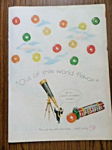 1956 Life Savers Candy Ad  Telescope Star Gazing Out of this World Flavor