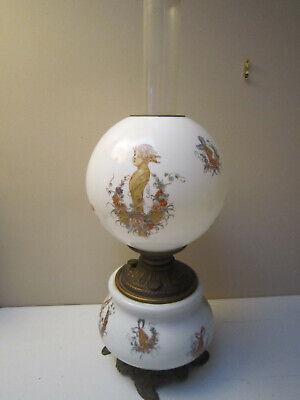 Antique Oil Kerosene Fostoria Glass Victorian GWTW Lamp